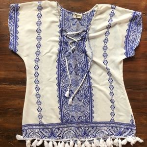 Blue and White Swimsuit Coverup Show Me Your Mumu